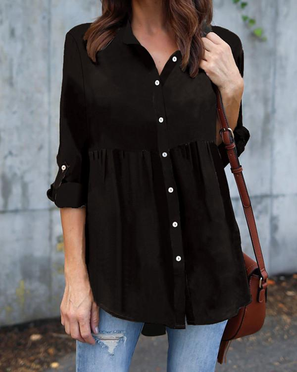 Women's Fashion Casual Shawl Collar Polyester Shirts
