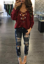Sexy Solid V-neck Lace-up Front T-shirts Tops