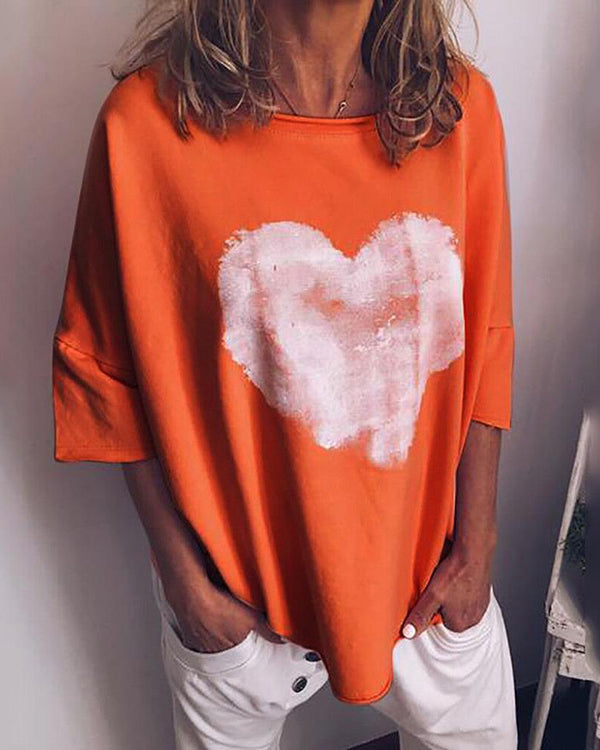 Loving Heart Printed Loose Women Daily Shift Tops