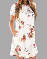 Random Floral Printed A-line Mini Dress