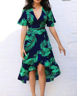 Summer Floral Printed Short Sleeve V-Neck Irregular Vacation Dress