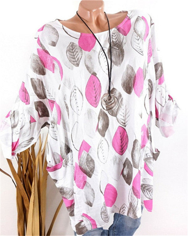 Irregular Women Casual Tops Leaves Printed Loose Blouse