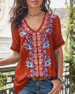 Plus Size Short Sleeve Casual Cotton-Blend V Neck Floral Printed Shirts Tops