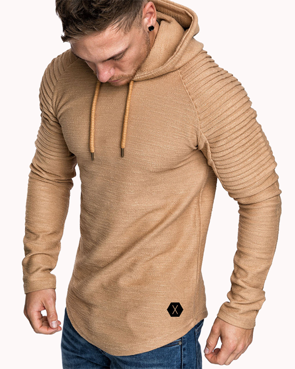 Mens Irregular Hem Hooded Striped Fold Raglan Sleeve O-neck Solid Color Casual Sweatshirt