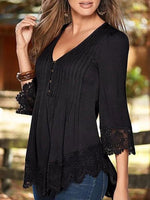 Solid 3/4 Sleeve Casual V-Neck Blouse
