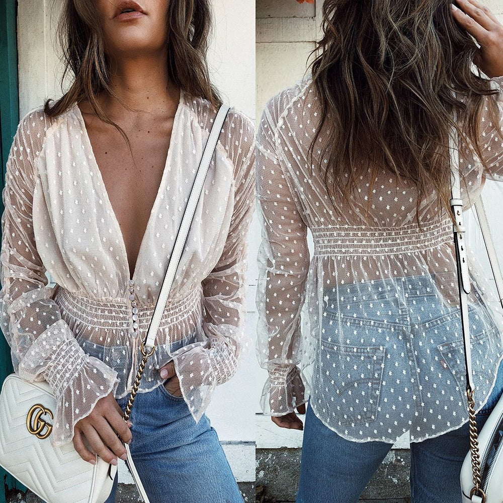 White Plunge Dipped Hem Flare Sleeve Women Lace Blouse