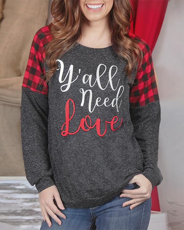 Y'all Need Love Plaid Splicing T-Shirt Tee