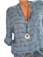Printed Letters V-neck Button Long Sleeve Shirts