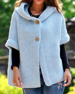 Women Fashion Loosely Knitted Hooded Outerwear