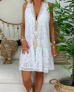 V Neck Sleeveless Lace Hollow Casual Dresses