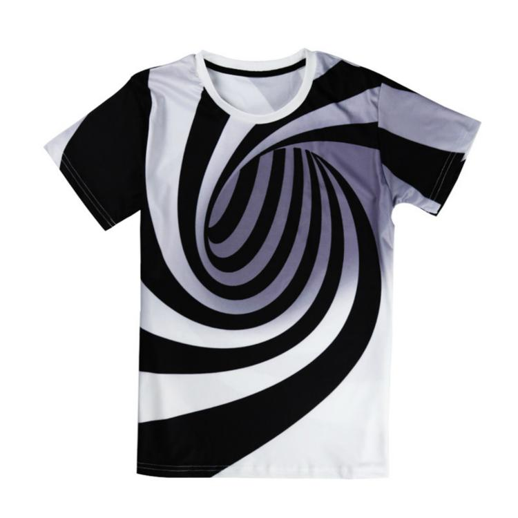 Black And White Vertigo Hypnotic Printing 3D  Short Sleeve T-shirts Tops