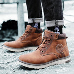 Men Waterproof Warm Plush Lining Lace Up Vintage Ankle Boots