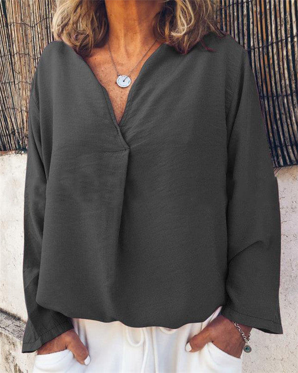 Long Sleeve Women Solid V Collar Loose Tops
