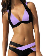 Women's Plus Size Halter Neck  Lilac Cheeky Bikini Swimwear