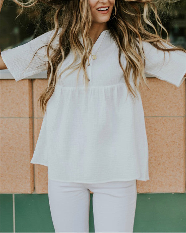 Casual Solid V Neck Buttoned Blouses Tops