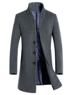 Winter Men Wool Trench Coat Men Long Trench Slim Fit Overcoat