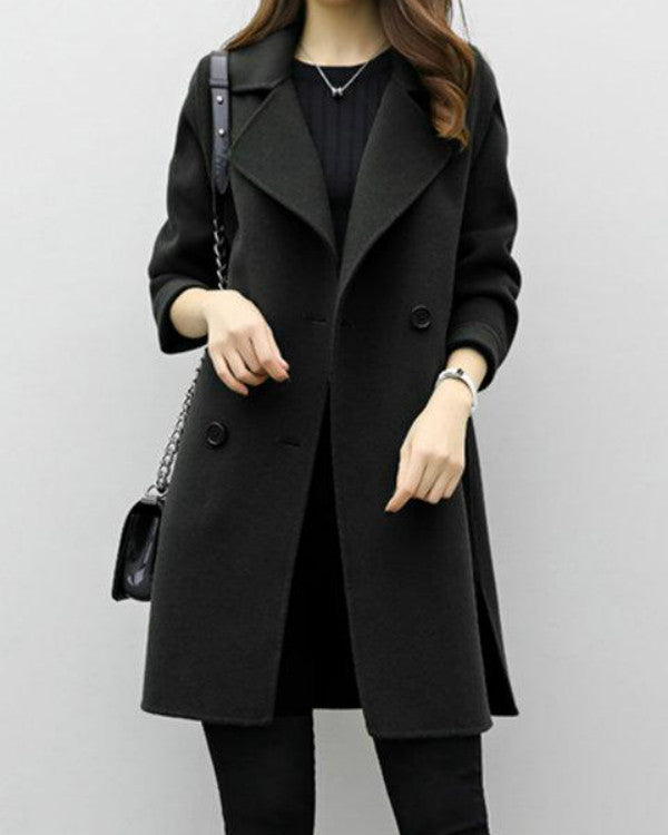 Long Sleeve Solid H-line Pea Coat