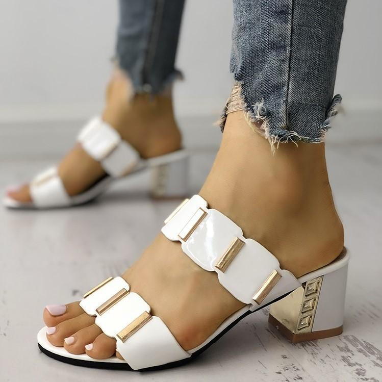 Metallic Embellished Chunky Heeles Sandals