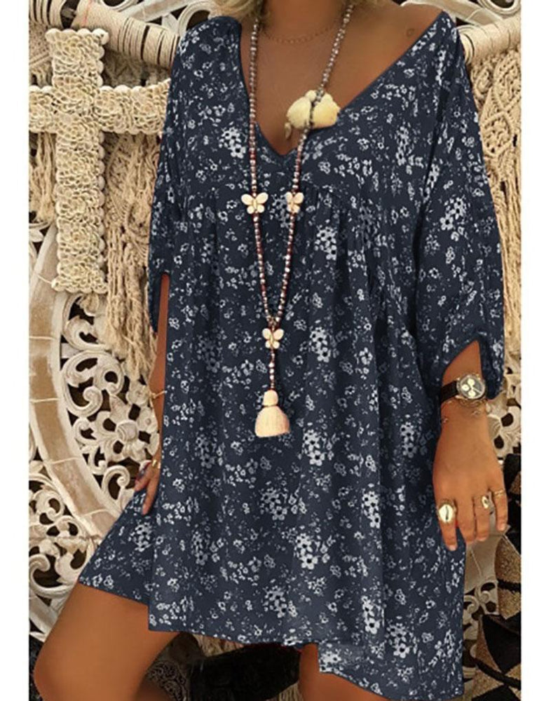 Women Long Sleeve V-neck Loose Casual Flower Shirt Dress