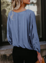 Cotton V Neck Plain Long Sleeves Shirt Blouses