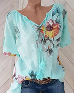 Women Casual V Neck Tassel Floral Printed Shirts Tops