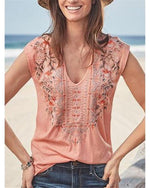 Bohemian Sleeveless V Neck Casual Blouses Tops