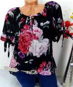 Casual Floral Printed Short Sleeve Women Shirts Tops
