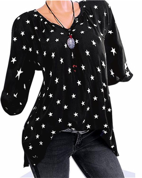V Neck Star Long Sleeve T-Shirts
