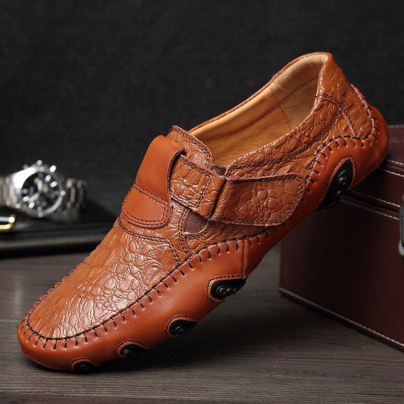 Men Hand Stitching Leather Non Slip Large Size Casual Driving Shoes