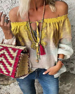 Bohemian Off-The-Shoulder Lace-Up Blouse