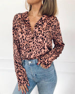 Leopard Printed Long Sleeve Sexy Blouses Tops