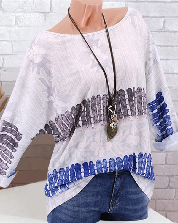 Women Casual Long Sleeve Floral Top Crew Neck Vintage T-Shirt