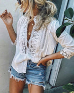 High Neck Single Breasted Patchwork Plain Blouses Tops
