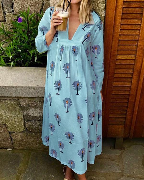 Plus Size Palm Tree Print Women Summer Maxi Dresses