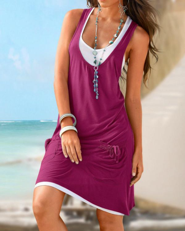 Women Casual Cotton-blend Sleeveless Paneled Summer Dress