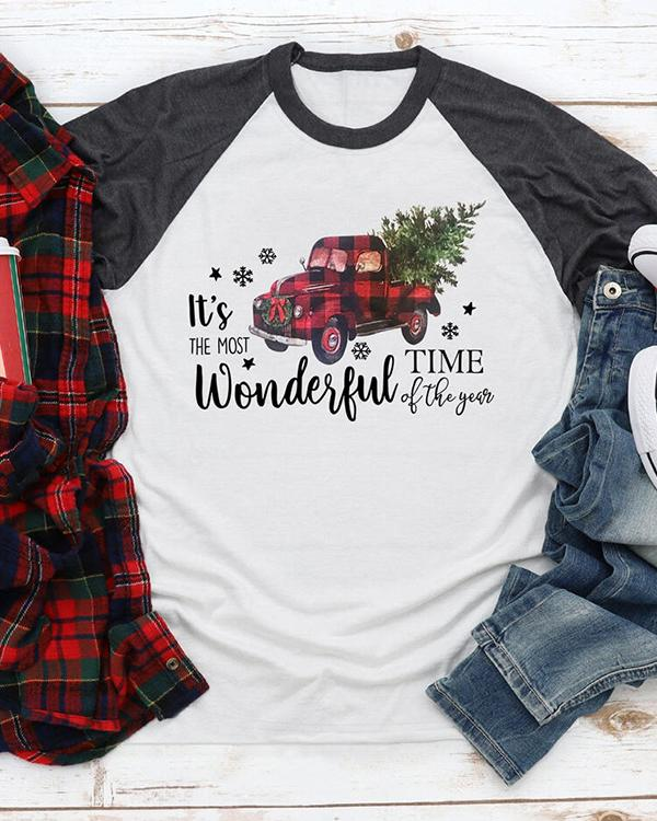 Merry Christmas Plaid Car T-Shirt Tee