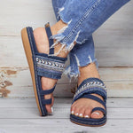 Women PU Sandals Casual Elastic Band Shoes