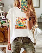 Plus Size Printed Crew Neck Casual Summer Women Holiday Blouse