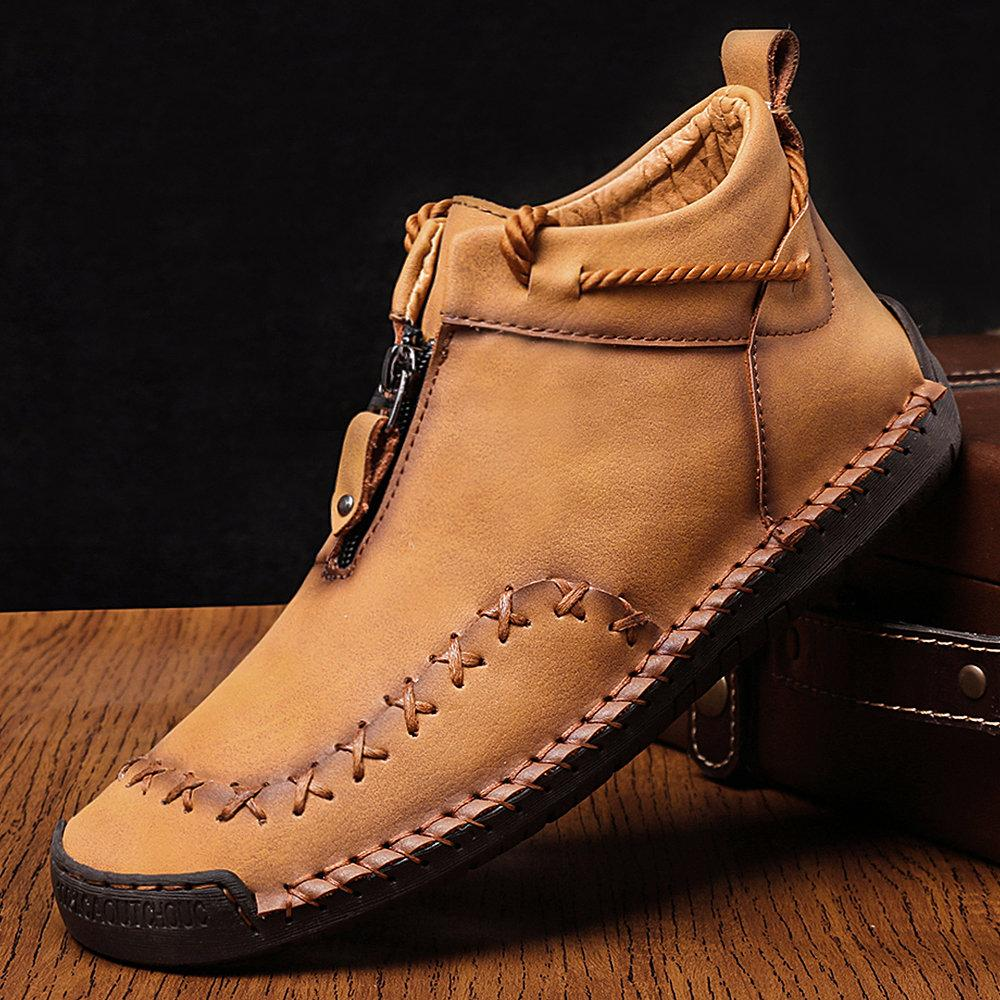 Men Hand Stitching Non Slip Soft Sole Casual Leather Boots