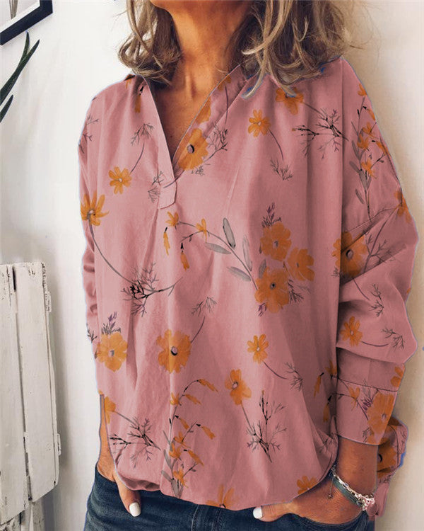 Long Sleeve Women Floral Printed Casual V Neck Loose Tops