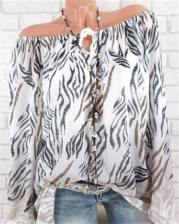 Crew Neck Long Sleeve Casual Summer Printed Blouse Tops