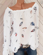Printed Blouse Feather Shoulders Necked Long-Sleeved