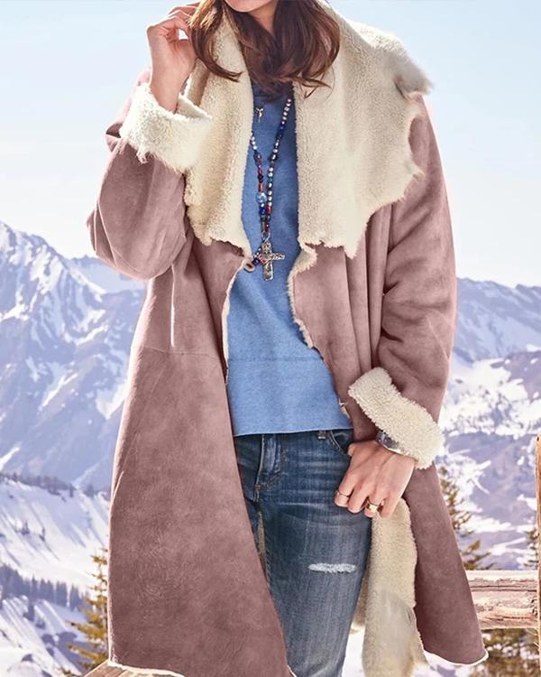 Casual Faux Sueded Turn-down Collar Long Sleeve Winter Coat