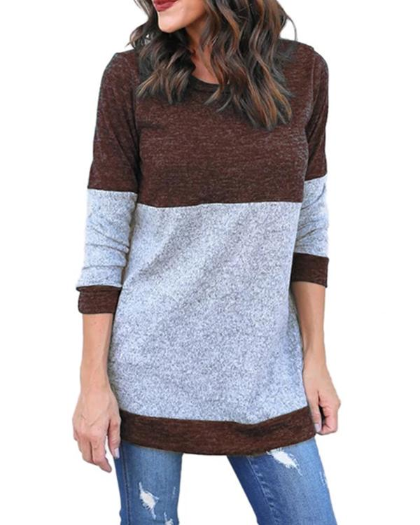 Round Neck Autumn Stitching Sweater Blouses