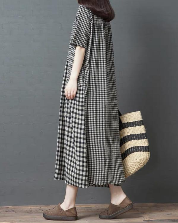 Casual Crew Neck Sling Plaid Maxi Dress