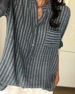 Casual Striped Long Sleeve Buttoned Stand Collar Shirt