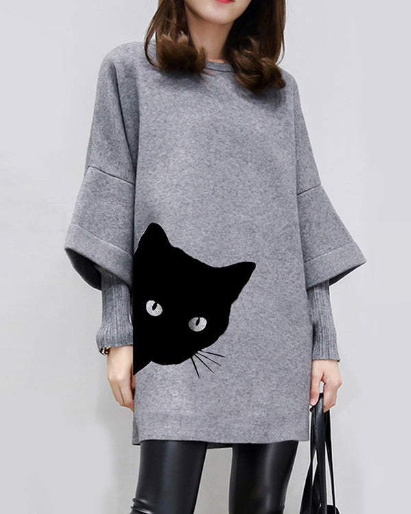 Casual Patch Cat Print Crew Neck Long Sleeve Work Dress