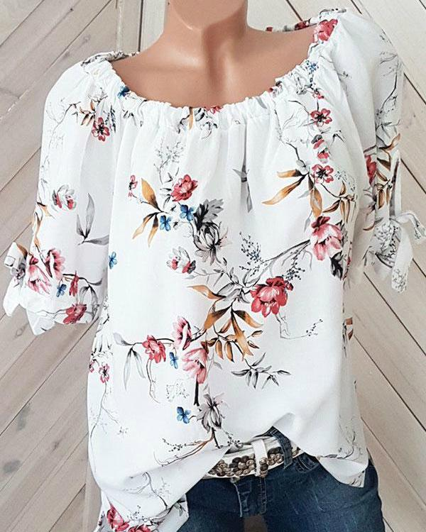 Floral Half Sleeve Round Neck Blouses