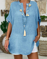 V Neck Solid Short Sleeve Buttoned Down Shirts