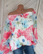 Off Shoulder Casual Women Floral Printd Blouse